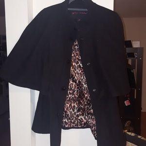 Betsey Johnson cape peacoat black size 12